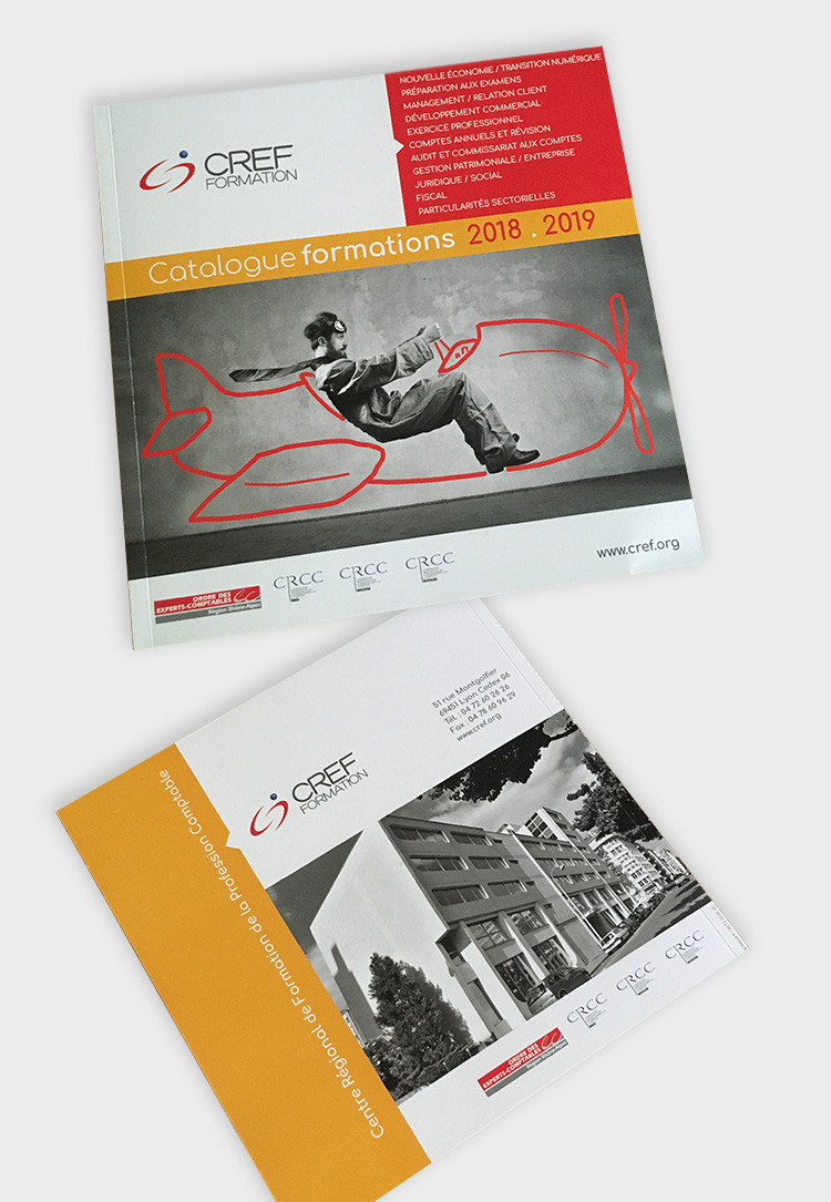 création couverture et dos catalogue CREF